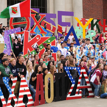 Fraternities and Sororities on the MU steps