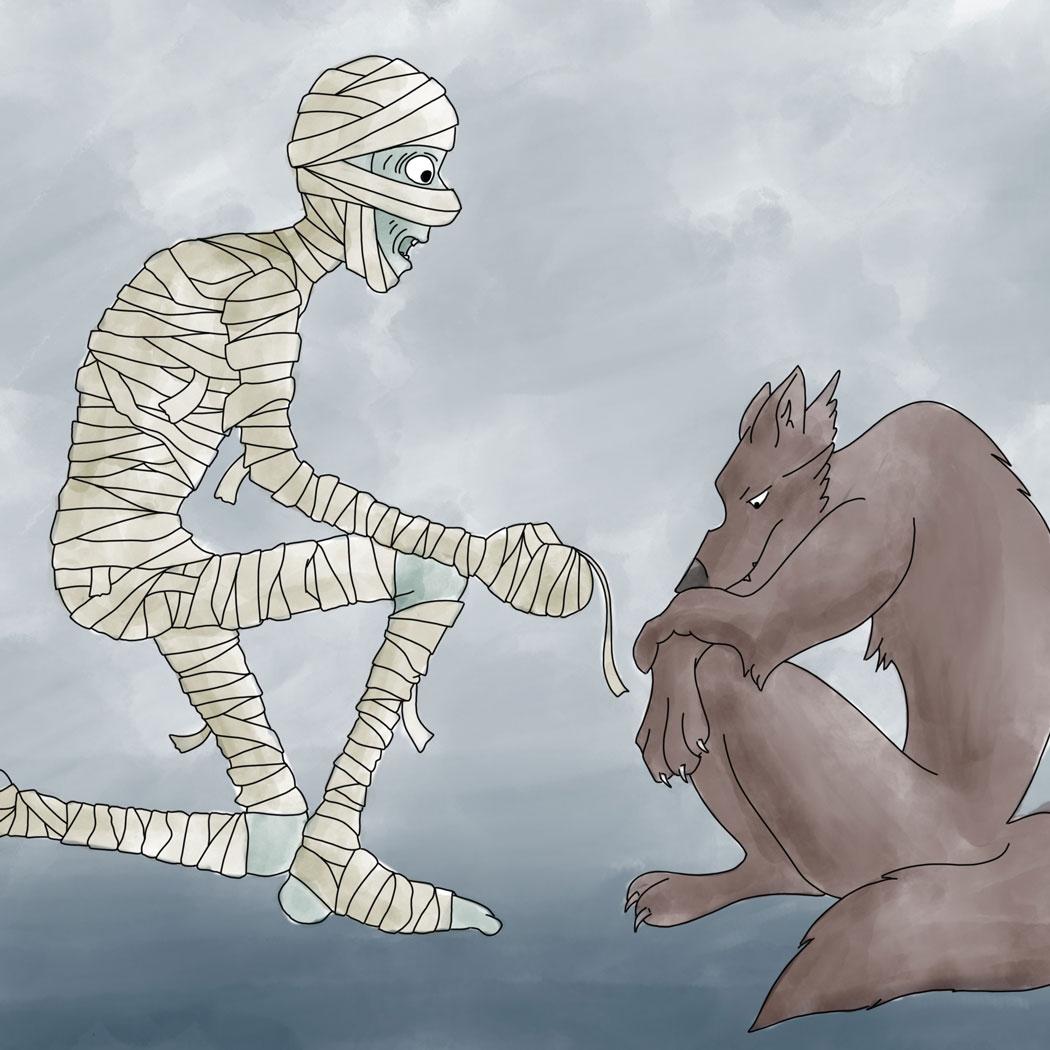 mummy talking to wolf