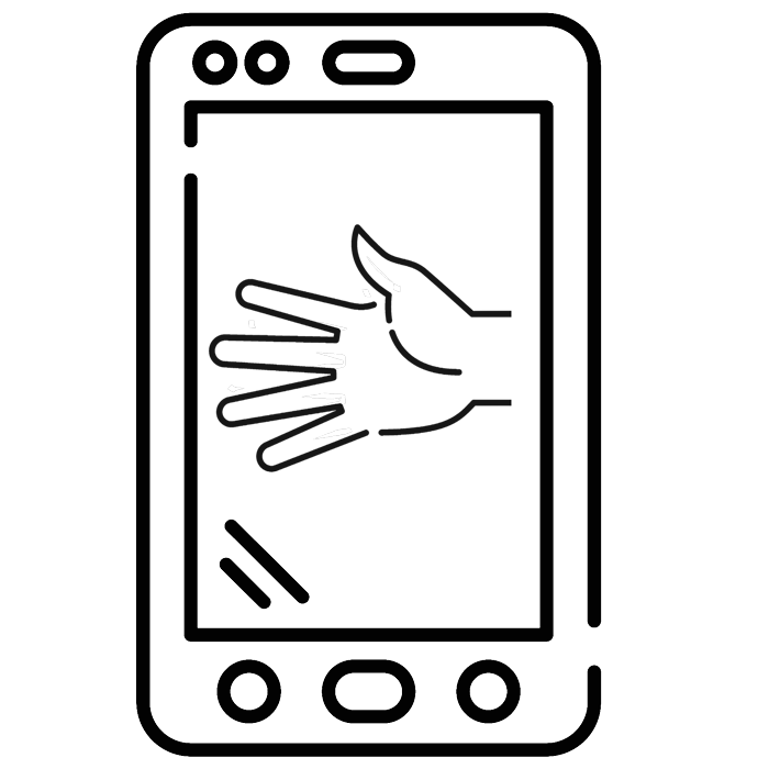 icon of right hand on cellphone, reaching for handshake