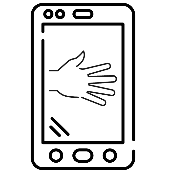 icon of hand reaching out for handshake and cellphone