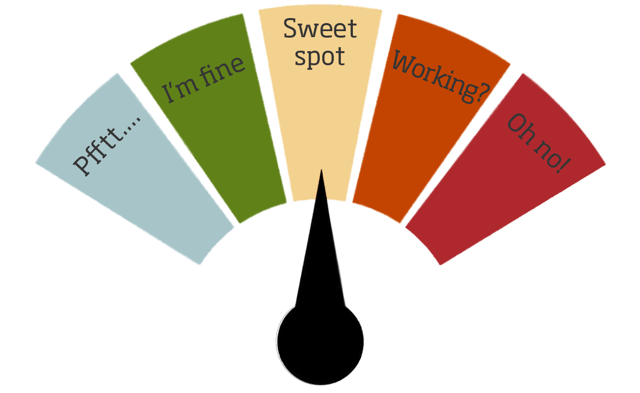 "Stress-o-Meter diagram pointing to the ""Sweet Spot"""