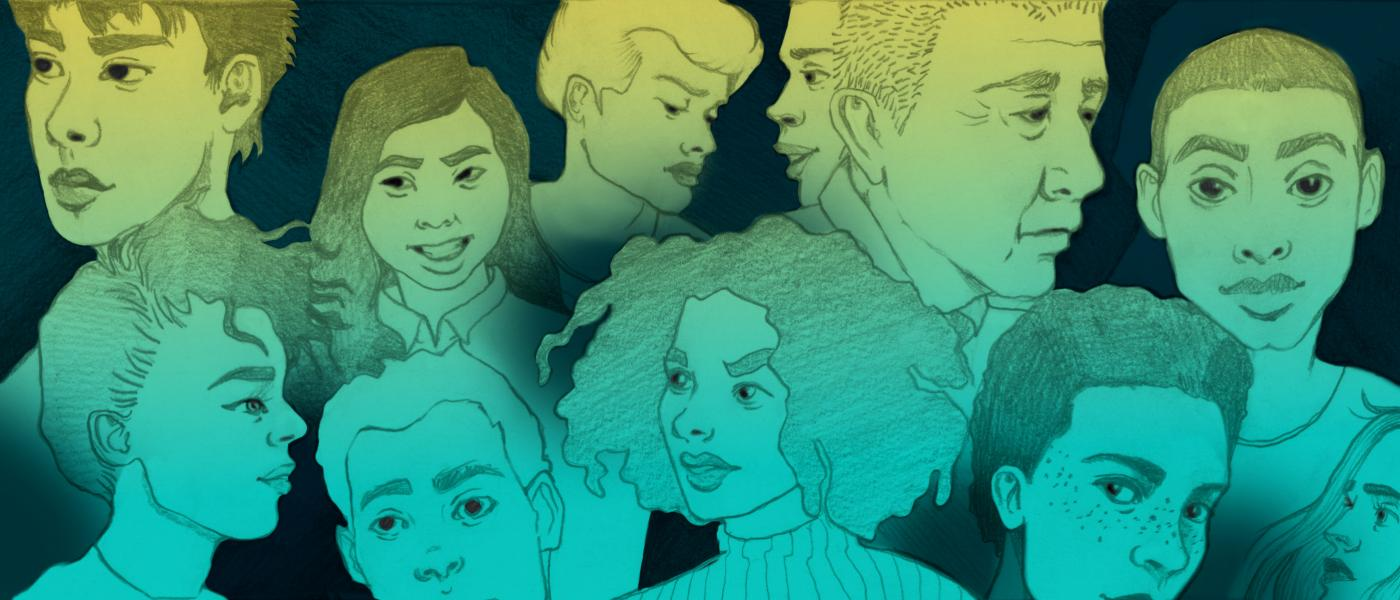 A graphic illustration featuring students of different races and nationalities.