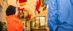 Jeannie Sullivan leads a campus tour