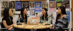 "Four students recording the ""Making Waves"" podcast"
