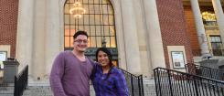 Justin Vazquez-Ellis and Richelle Castro on the Memorial Union steps