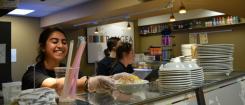 Student serves food