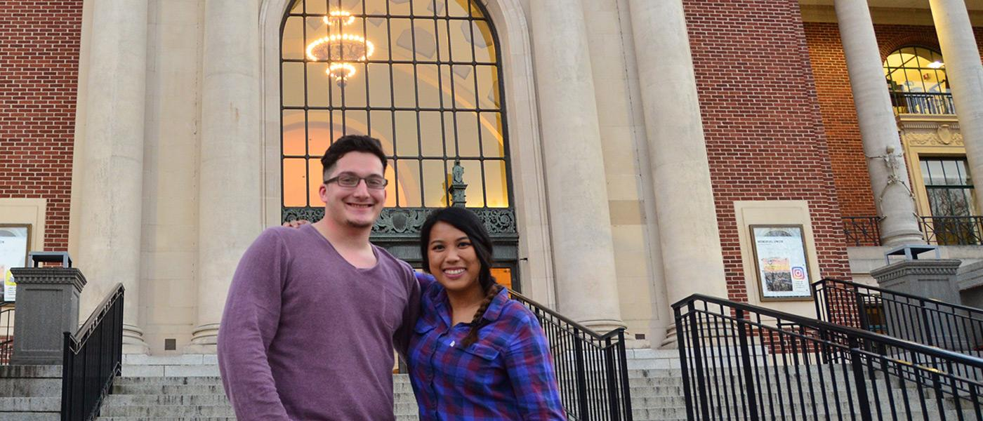Justin Vazquez-Ellis and Richelle Castro on the Memorial Union steps