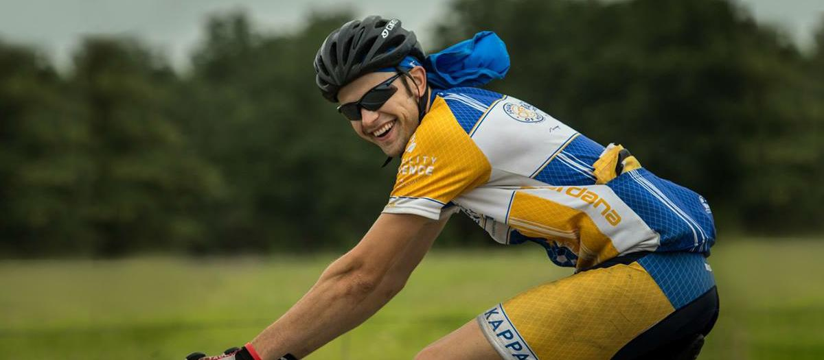Feature story image, Bryan Williamson on bicycle