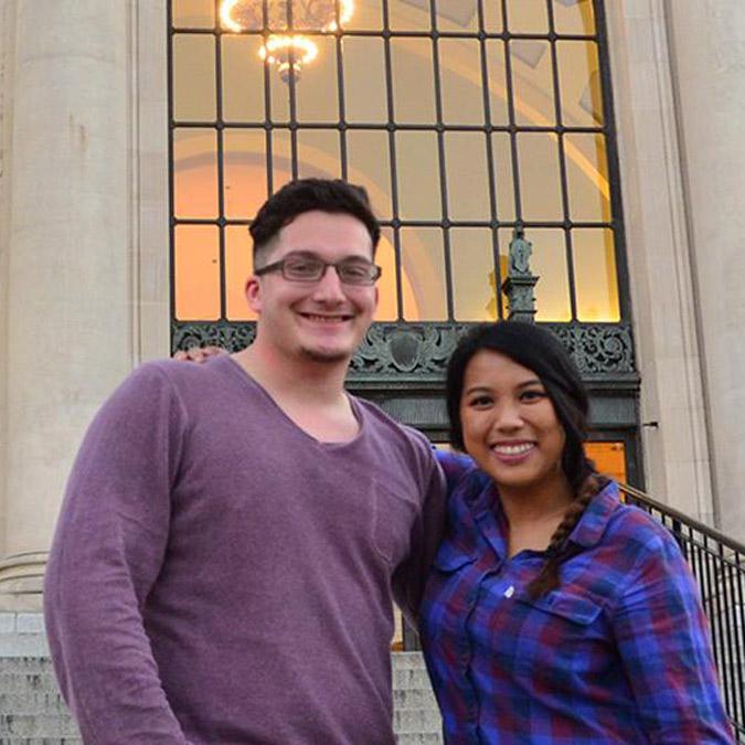 Justin Vazquez-Ellis and Richelle Castro standing outside the Memorial Union