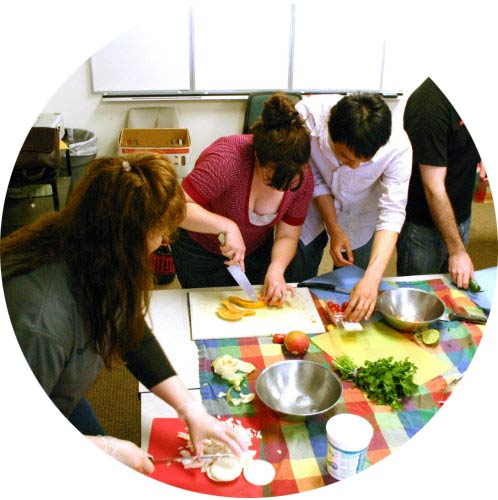 Students preparing a meal together